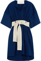 Cédric Charlier Belted Cotton And Linen-blend Dress - Royal blue