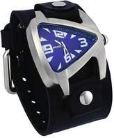 Nemesis #LBB011L2 Men's Teardrop Dial Black Wide Leather Cuff Band Watch