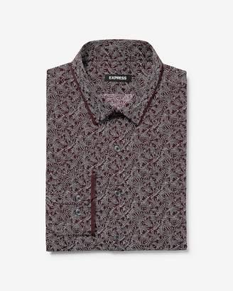 Express Slim Printed Taped Collar Cotton Dress Shirt