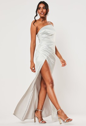 Missguided Bridesmaid Grey Satin One Shoulder Maxi Dress