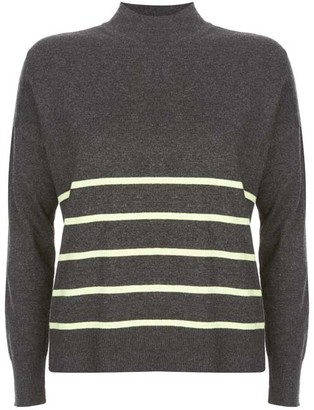 Mint Velvet Grey Neon Lime Striped Jumper