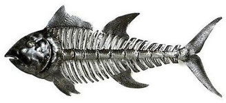 Global Crafts Fish Bones Recycled Metal Wall Art