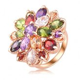 Zopho(TM) Unique Fashion Multicolor 18K Rose Gold Plated AAA Zircon Engagement/Weddding bijoux Rings Fine Jewelry Ri-HQ0365-b
