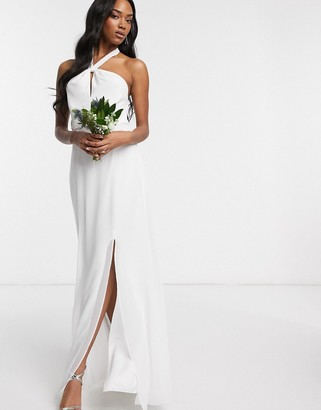 Maids To Measure Maids to Measure bridal halter neck chiffon maxi dress with back detail-White