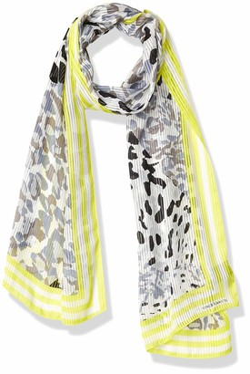 Vince Camuto Women's Printed Woven Oblong Scarf Grey One Size