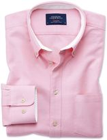 Charles Tyrwhitt Slim Fit Button-Down Washed Oxford Plain Light Pink Cotton Casual Shirt Single Cuff Size Large