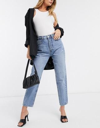 Stradivarius organic cotton mom fit vintage jeans in light wash