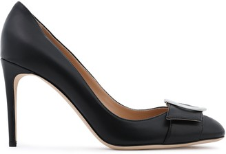 Sergio Rossi Buckle And Bow-embellished Leather Pumps