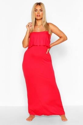 boohoo Plus Double Layer Strappy Maxi Dress