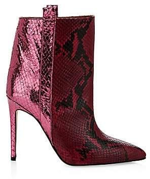 Paris Texas Women's Metallic Snakeskin-Print Leather Stiletto Booties
