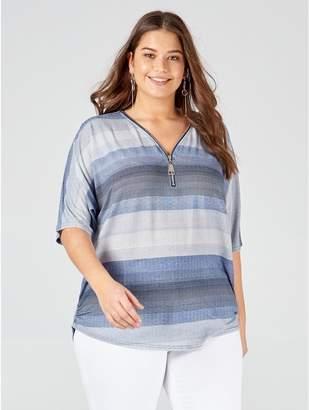 M&Co Blue Vanilla Curve stripes zip front top