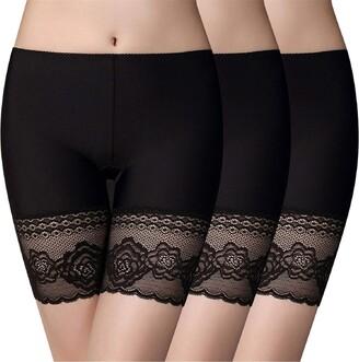Voqeen Women Lace Under Skirt Shorts Leggings Women Anti Chafing Shorts Ice Silk Seamless Safety Pants Yoga Shorts Non-Slip Under Safety Shorts White