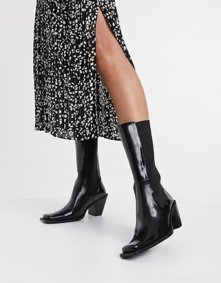 E8 by Miista Cosima high rise square toe leather boots in black