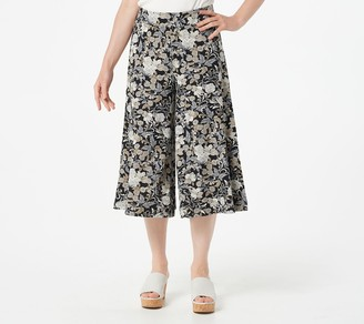 Isaac Mizrahi Live! Regular Floral Pebble Knit Culotte Pants