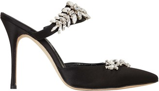 Manolo Blahnik Lurum Crystal-Embellished Satin Pumps