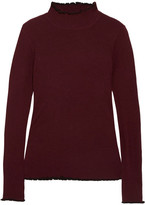 Carven Ribbed Merino Wool-blend Turtleneck Sweater - Burgundy