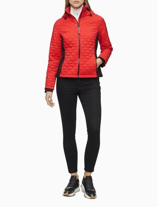 Calvin Klein Quilted Colorblock Zip Hooded Jacket