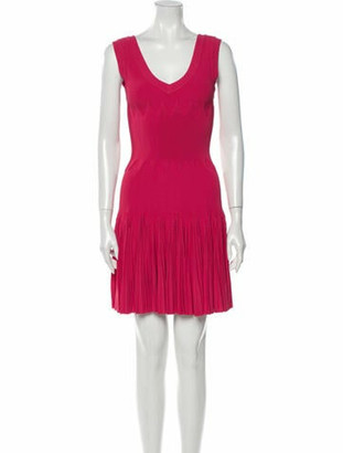 Alaia Scoop Neck Mini Dress Pink