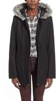 Junior Women's Krush Faux Fur Trim Hooded Coat