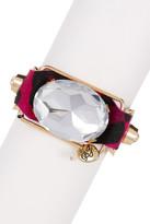 Betsey Johnson Large Oval Crystal Faux Leopard Hair Snap Bracelet