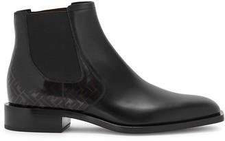Fendi FF black leather Chelsea boots