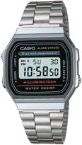 Casio Illuminator Mens Stainless Steel Square Digital Watch A168WA-1OS