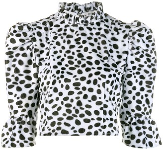 Batsheva dalmatian furry cropped blouse