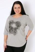 Yours Clothing Grey Marl Floral Skull Print T-Shirt With 3/4 Length Sleeves