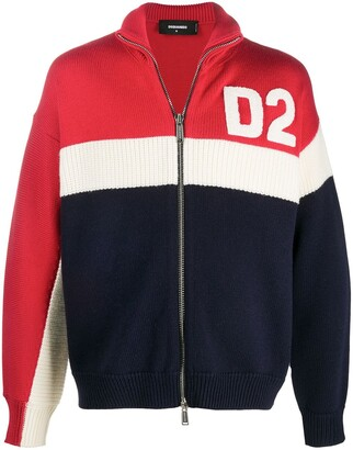 DSQUARED2 Logo-Patch Zip-Up Cardigan