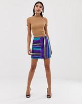 Asos Design DESIGN rainbow stripe metallic mini skirt