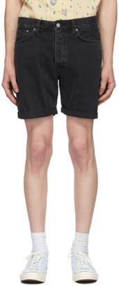 Nudie Jeans Black Denim Josh Shorts