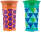 Sassy 9 oz. Plastic Grow Up Cups in Green/Orange (Set of 2)