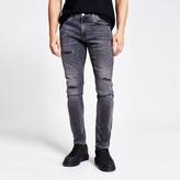 River Island Grey ripped Sid skinny jeans