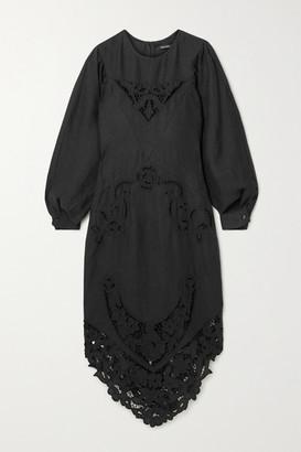 Isabel Marant Edrea Broderie Anglaise-trimmed Linen Midi Dress - Black