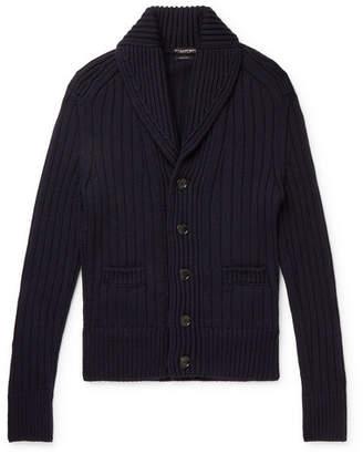 Tom Ford Shawl-Collar Ribbed Merino Wool Cardigan