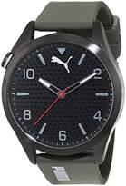 Puma Atomic Men's Quartz Watch with Black Dial Analogue Display and Green Polyurethane Strap PU103941001