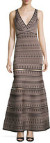 Herve Leger Sleeveless V-Neck Jacquard Gown, Black/Multi