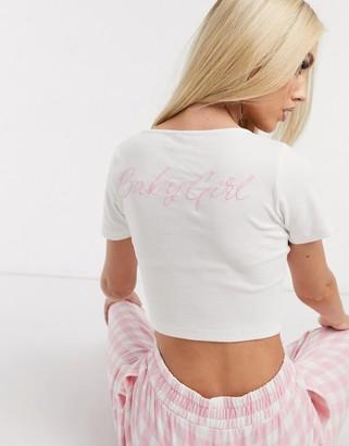 ASOS DESIGN baby girl rib tee pyjama top