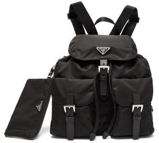 Prada Leather-trimmed Nylon Drawstring Backpack - Black
