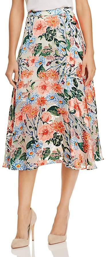 Alice + Olivia Nanette Floral Burnout Midi Skirt