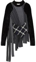 3.1 Phillip Lim Asymmetric Velvet-trimmed Wool-jacquard Sweater - Navy