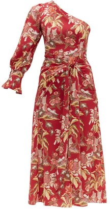 Peter Pilotto Floral-print One-shoulder Crepe Dress - Red Multi