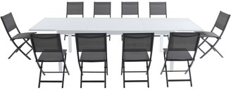 Cambridge Silversmiths Palermo 11-Piece Outdoor Dining Set with 10 Folding Chairs in Gray and a White Expandable Dining Table