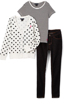 U.S. Polo Assn. Vanilla Polka Dot Cardigan Tee & Jeans - Girls