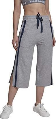 Urban Classic Women's Ladies Taped Terry Culotte Sports Pants, (Grey/Navy 01199), (Herstellergröße: XL)