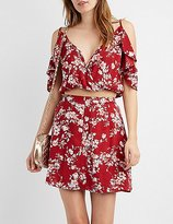 Charlotte Russe Floral Cold Shoulder Crop Top