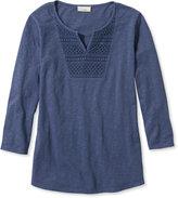L.L. Bean Splitneck Crochet-Trimmed Tee, Three-Quarter-Sleeve