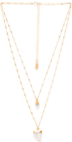 Natalie B Moonstone Pendant Double Layer Necklace in Metallic Gold.