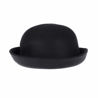 Winomo Bowler Hat Wool Derby Hat Roll-up Brim Fedora Hat for Women (Black)