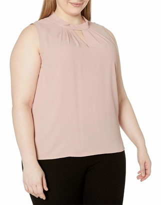 Nine West Women's Plus Size Solid Woven Blouse with Collar Detailing